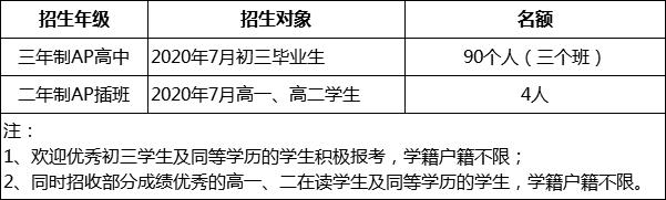 2020年广大附中国际班秋季招生简章