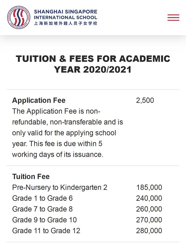 上海新加坡外籍人员子女学校2020-2021学年学费多少?