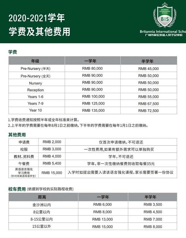 广州英伦外籍人员子女学校2020-2021学年学费
