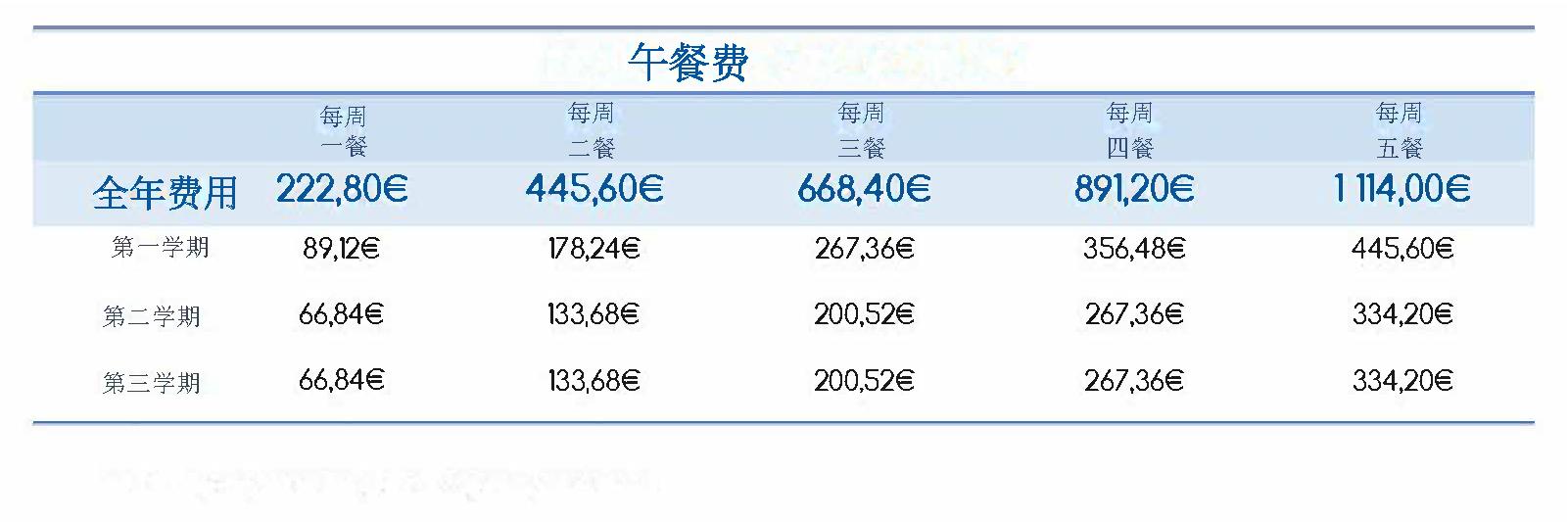 北京法国国际学校2020-2021学年学费标准