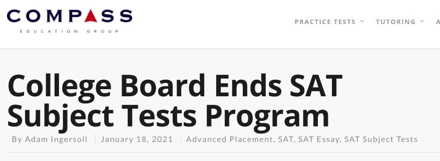 爆炸性新闻!美国大学理事会结束SAT科目考试计划!