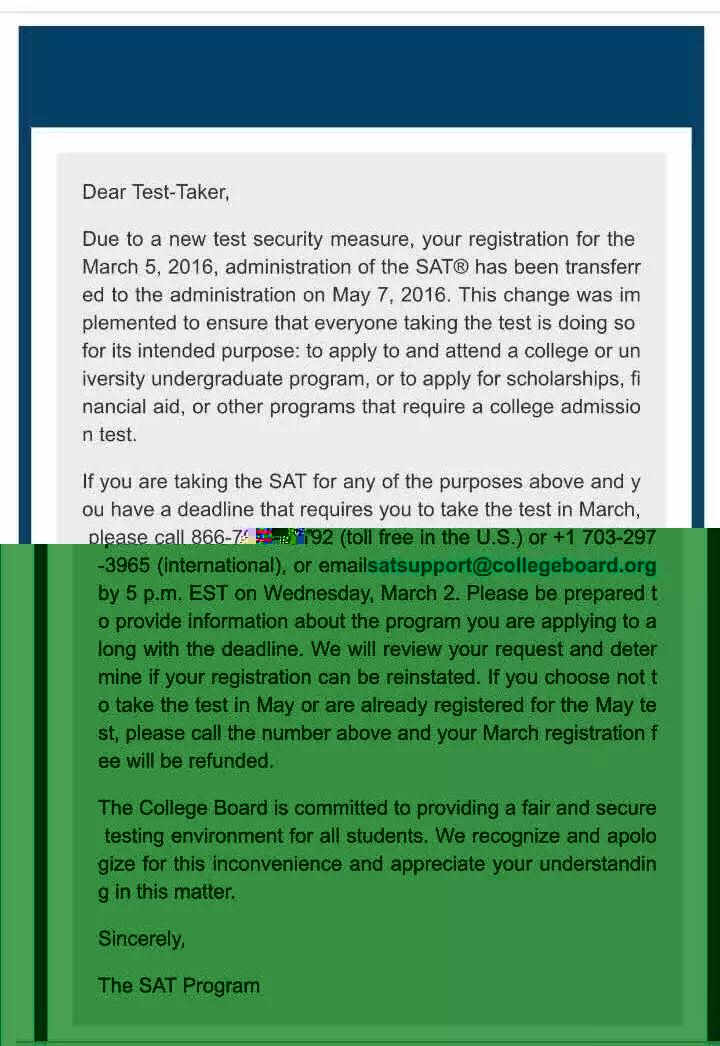 20岁以上的SAT考生被转为5月考试