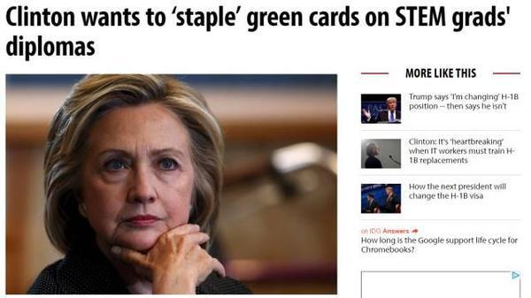 希拉里提议STEM专业可获绿卡 各界发声讨论并质疑