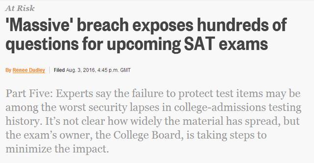 新SAT又出泄题事件 黑历史不能再多了