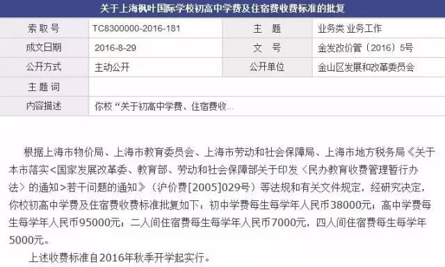 上海枫叶国际学校收费标准获批复 你上得起吗?