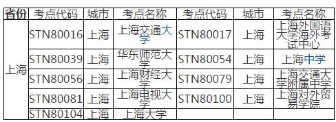 托福考试上海考点