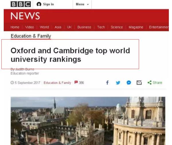 英媒都激动坏了 2018THE大学榜单二甲都是他们的